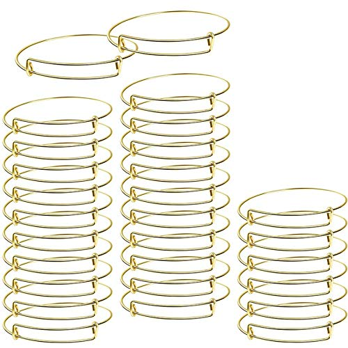 Beada 60 pulseras expandibles de alambre ajustable en blanco para mujer