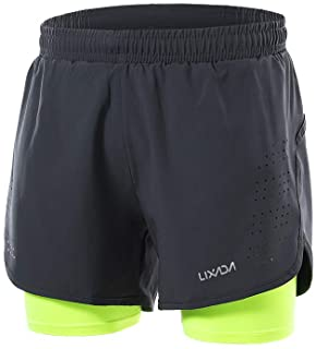 Men's 2-in-1 Running Shorts Quick Drying Breathable Active Training Exercise Jogging Cycling Shorts
