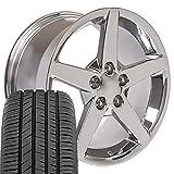 OE Wheels LLC 17 Inch Fit Corvette Camaro C6 Style Chrome 17x9.5 Rims Toyo Proxes Sport All Season Tires SET