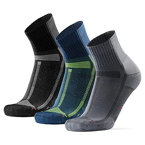 DANISH ENDURANCE Calcetines de Running para Largas Distancias, para Hombre y Mujer Pack de 3 (Multicolor (1 x Negro/Gris, 1 x Gris/Negro, 1 x Azul/Amarillo), EU 43-37)