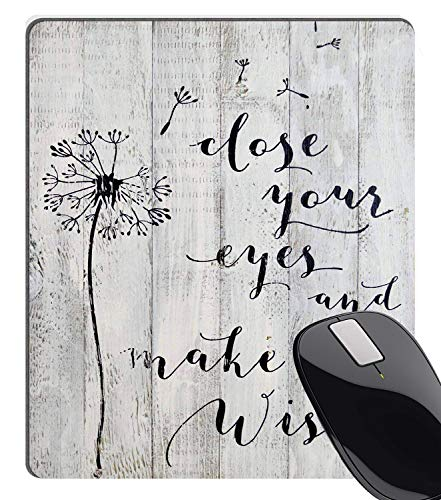 Wknoon Close Your Eyes and Make A Wish -Rustic White Barn Wood Sign Antique Vintage Decor with Dandelion Floral Design Inspirational Quote Mouse Pad Gaming Mat