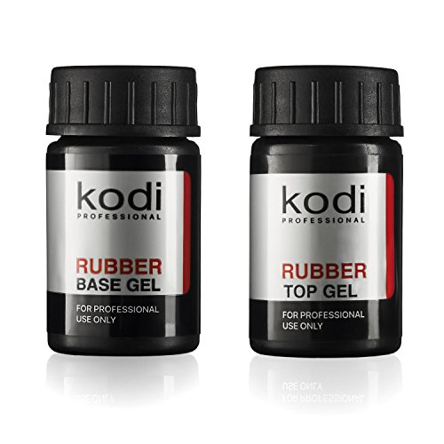 Professional Rubber Top & Base Gel Set By Kodi | 14ml 0.49 oz | Soak Off, Polish Fingernails Coat Kit | For Long Lasting Nails Layer | Easy To Use, Non-Toxic & Scentless | Cure Under LED Or UV Lamp