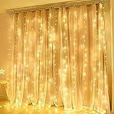 600 LED Cortina de Luces, 6m*3m, Luces de Hadas Cortina de Luz de Navidad con Enchufe, 8 Modos y Función de Temporizador para Bodas Deco, Jardín. Blanco Cálido