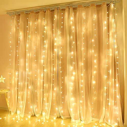 600 LED 6M x 3M Tenda Luminosa Natale Esterno/Interno, Tenda Luci Natale IP44 con 8 Modalità di Illuminazione Natale Decorazioni Casa, Camera da Letto, Giardino- Luci LED Natale Bianco Caldo