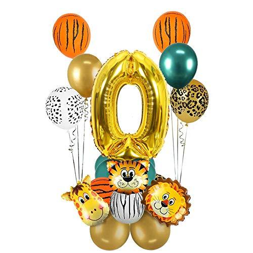 MMTX 0.Dschungel Geburtstag Dekoration Set, 0 Jahre Kindergeburtstag Deko, Gold 0 Luftballons Safari Tier Folienballons für Kindergarten Dekoration Urwald Party Geburtstag MEHRWEG