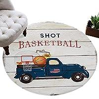 カーペット 円形 ラグマット バスケットボール レトロ 木紋 じゅうたん シャギーラグ 絨毯 ふわふわ マイクロファイバー 防音 滑り止め付 床暖房 ホットカーペット対応 おしゃれ 直径 152cm