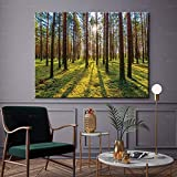 Paisaje cartel pared arte imagen impresión amanecer familia sin marco decorativo lienzo pintura en el bosque A71 70x100cm