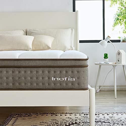 Inofia Sleep Colchón pequeño de doble bolsillo y espuma viscoelástica, colchón híbrido extra cómodo, tejido hecho a mano por expertos (120 cm x 190 cm x 30 cm)