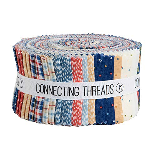 """Connecting Threads Print Collection Precut Cotton Quilting Fabric Bundle 2.5"""" Strips (Wild Crimson)"""