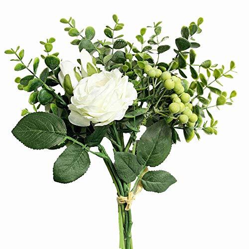 KIRIFLY Künstliche Blumen, Künstlich Rose Unechte Blumen Seide Eukalyptus Decor Blumenarrangements Hochzeit Blumenstrauß Pflanzen Beere Tisch-Mittelstücke Dekoration(Weiß)