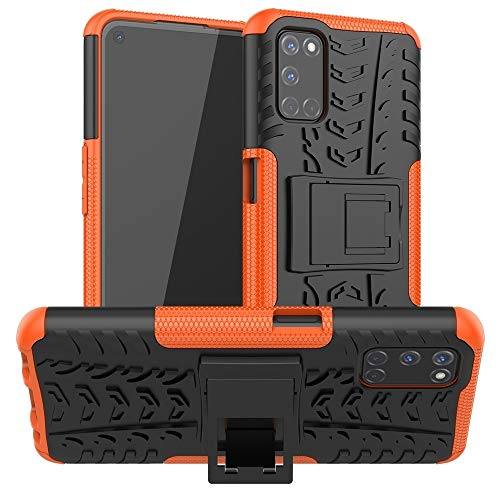 BAIYUNLONG Funda Protectora, For OPPO A52 / A72 / A92 Caja Protectora de TPU + PC Textura del neumático a Prueba de Golpes con el Titular (Color : Orange)