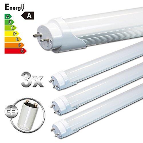 LEDVero 3x SMD LED Röhre/Tube Leuchtstoffröhre T8 G13 milchige Abdeckung - 120 cm, 18W, kaltweiß 6000K, 1800lm- montagefertig LDLM407