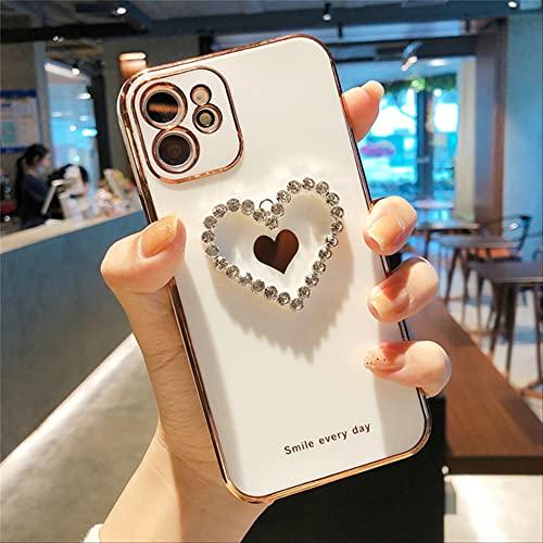 para iPhone 11 12 Pro MAX Estuche Tridimensional Love Heart Estuche de galvanoplastia de Lujo para iPhone X XR XS MAX 7 8 Plus Carcasa Trasera para iPhone SE 2020 TD3