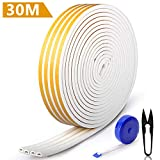 RATEL 30m/ 98.4ft Rubber Weather Strip, Door Gasket Window Collision Proof Weather Stripping Self Adhesive with 1 Scissors and 1 Tape Measure for Blocking Cracks and Gaps 4 Seals(White)