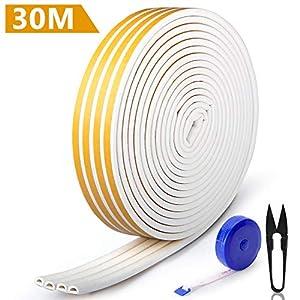 RATEL-Tira-de-Sellado-Junta-de-30-m4-x-75-m-Goma-burlete-para-Puerta-Ventana-Antigolpes-Resistente-al-Agua-Autoadhesiva-con-1-tijera-y-1-cinta-mtrica-para-bloquear-grietas-y-huecos-blanco