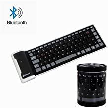 Wireless Bluetooth Keyboard,Foldable Portable Silent Silicone Waterproof Rollup Keypad Slim Rechargeable for PC Notebook Laptop (Black)