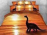 LifeisPerfect JF-035 Precioso Niños Dinosaurio con Golden mar Sunset Imprimir cubrecama Establece 4pcs niños Regalo Conjuntos de Ropa de Cama