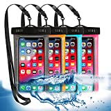 """4 Pack Universal Waterproof Phone Pouch, Large Phone Waterproof Case Dry Bag IPX8 Outdoor Sports for Apple iPhone Pro XS XR XS 12 11 10 9 8 7 6 Plus,SE, Samsung S10 S10+ S9+ S9 S8+,Note,up to 6.5"""""""