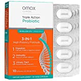 Omax Synbiotic Probiotic Prebiotic Inulin Chicory Root Fiber | 50 Billion CFU +10 Strains | Vegan, Therapeutic Grade, Dairy-Free, Blister Packed, Non-GMO, Gluten-Free, Soy-Free - 30 Vege-Caps