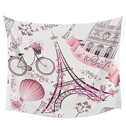 Bdhbeq París Torre Eiffel Rosa lámpara de Calle Bicicleta Tapiz Cubierta Toalla de Playa Picnic Yoga Mat decoración del hogar130x150cm