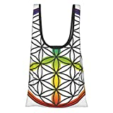 Hippie Life And Peace Symbol Forming Flower In Rainbow Colors Abstract Style Artful Design Multicolor Reusable Fold Eco-Friendly Shopping Bags