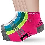 LIN Paquete de 5 calcetines de ciclismo para hombres y mujeres que absorben la humedad y evitan los deportes de ciclismo de 2,54 cm para bicicleta de carretera de montaña, Surtido-5 unidades., 9-11