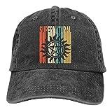 Hoswee Gorra de Béisbol Ajustable Unisex Baseball Cap Hat Retro Style Supernatural Silhouette-1 Washed Jean Strapback Cap for Women