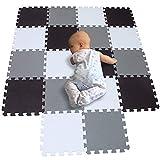 BUCHAQIAN BPA-freie Zahlen Schaumstoff-Spielmatte, 18 Fliesen Ungiftige Alphabet-Puzzlematte Bodenmatte | Eva Foam Weiß Schwarz Grau 101104112