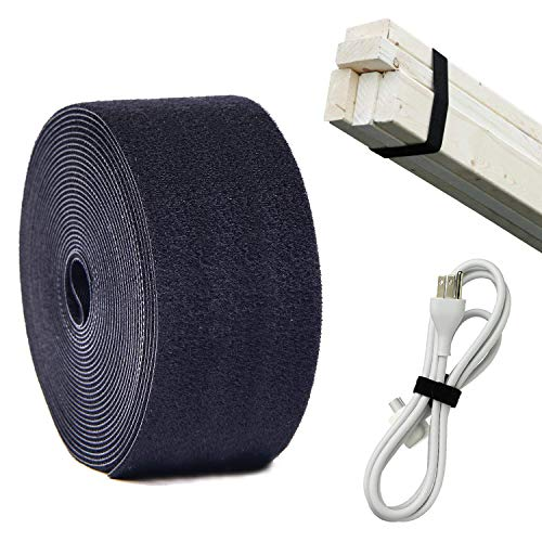 Counting Mars Fastening Tape Cable Tie Double-Sided, Self Gripping Multi-Purpose Hook and Loop Tape, Reusable, 5 cm x 5 Meter Roll - Black