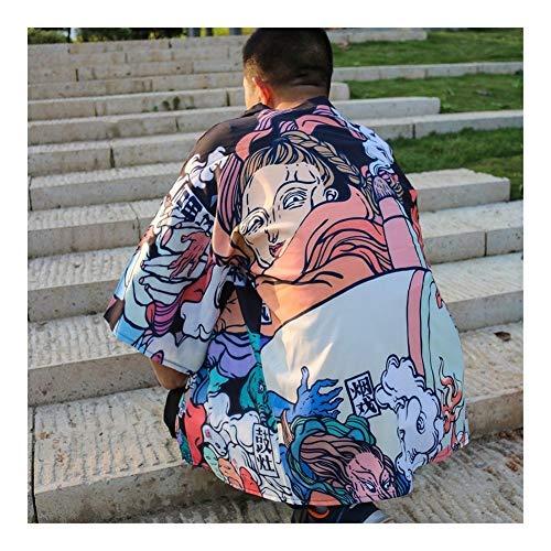 ZTXCM Cultura Japonesa Kimono Hombres Kimono japonés Tradicional Kimono Masculino Cardigan Hombres Harajuku Streetwear Samurai Vestuario Masculino Yukata (Color : 1, Size : L)