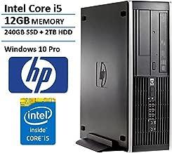 HP Elite Pro Small Form Factor Slim Business Desktop Computer, Intel Quad-Core i5-2400 up to 3.4GHz, 12GB RAM, 2TB HDD + 240GB SSD, DVD, Windows 10 Professional (Renewed)