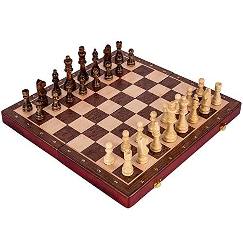 Flystoo Gran Conjunto de ajedrez de Madera Conjunto de ajedrez Plegable Trabajo a Mano sólido Piezas de Madera de Viaje Juego Juego de ajedrez al Aire Libre Regalo de cumpleaños