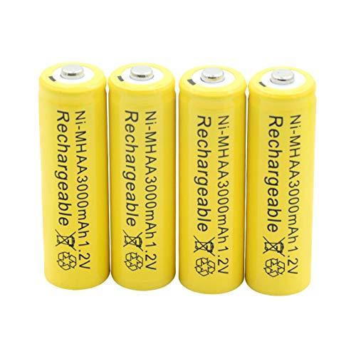 WSXYD Batería AA Ni-Mh De 1.2v 3000mah, Pilas Recargables Nimh para Antorcha Linterna Maquinilla De Afeitar para Coche Mp3 Mp4 Modelo aéReo 4Pcs