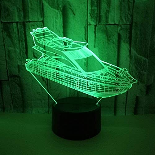 Ckssyao Lámpara de Mesa Yate LED gradiente Colorido 3D estéreo Control Remoto luz USB luz de Noche Toque Junto a la Cama decoración Creativa Escritorio Cumplea 20 * 13 cm
