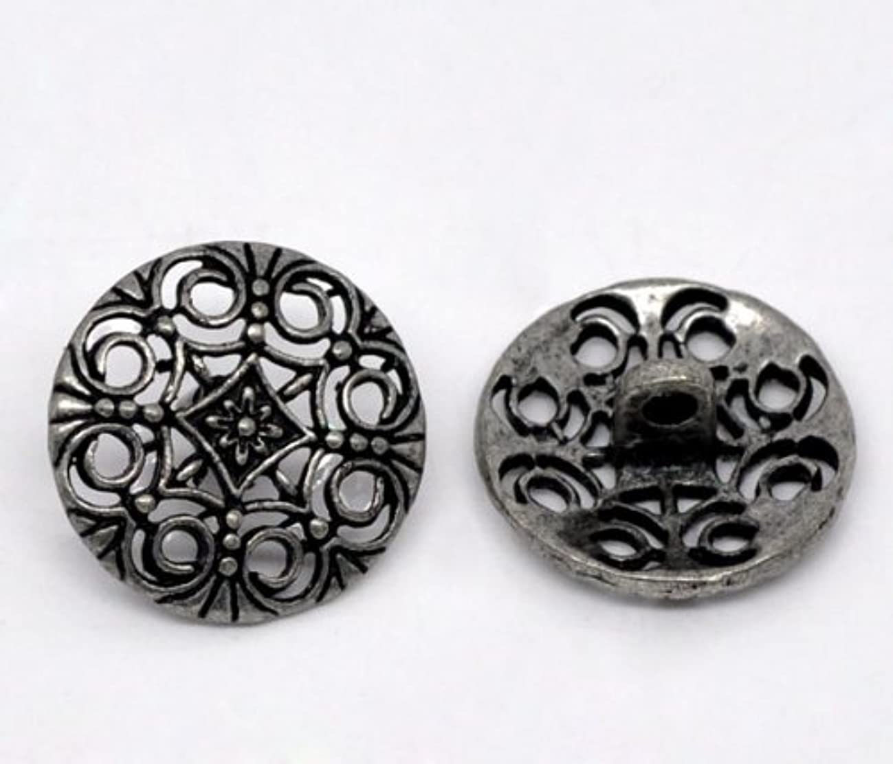 10pc Gunmetal Hollow Sewing Metal Buttons Flower Carved 18mm (3/4