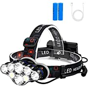 Rechargeable Headlamp, Foxdott 8 LED Headlamp Flashlight with White Red Lights,8 Modes USB Rechargeable Waterproof Head Lamp for Outdoor Camping Cycling Running Fishing, Head Lamps for Adults