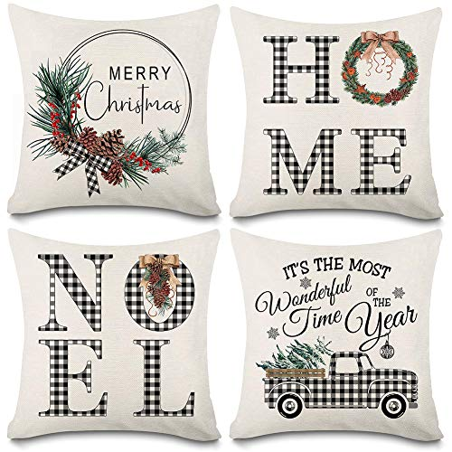 Kithomer Set of 4 Christmas Decorations Pillow Covers Christmas Buffalo Plaid Farmhouse Decor Throw Pillow Cases Retro Truck Cushion Cover 18 x 18 Inch Holiday Decoration