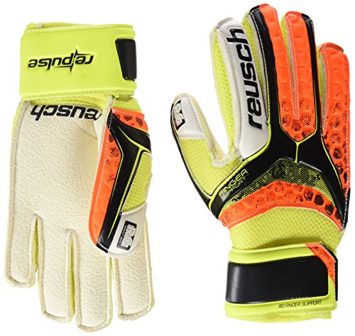 Reusch Kinder RE: Pulse RG Finger Support Junior Torwarthandschuh für Kinder, Farbe Black/Shocking Orange, Größe 4