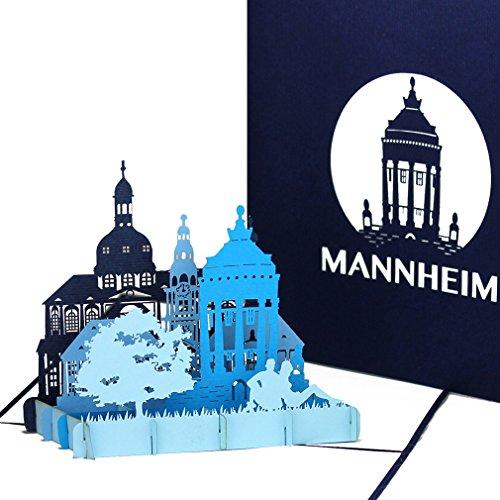 """Pop Up Karte """"Mannheim – Mannheimer Wasserturm"""" - 3D Grußkarte als Souvenir, Geschenk, Geschenkverpackung – Geburtstagskarte & Einladung zur Städtereise"""
