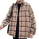 メンズ チェック柄 シャツ 長袖 シャツジャケット 韓国風 綿 トップス ゆったり オシャレ かっこいい カジュアル オーバーサイズ XL