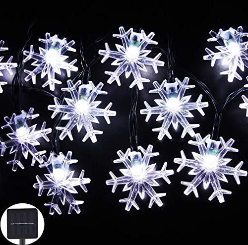 verlichting voor slaapkamer, regenbooglicht, voor tuin, thuis, zonnelichtketting, sneeuwvlok met 20 lampjes, wit