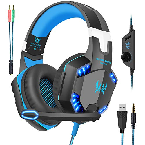 Gaming Headset with Mic for Xbox One,PC,PS4,Over-Ear Headphones with Volume Control LED Light Cool Style Stereo,Noise Reduction for Laptops,Smartphone,Computer,Nintendo Switch