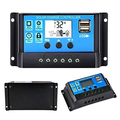 Controlador de carga solar, Topcloud 30A Controlador de panel solar 12V / 24V PWM Parámetro automático Pantalla LCD ajustable Panel solar Regulador de batería con puerto USB dual
