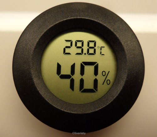 Digital Cigar Humidor Hygrometer Thermometer 1 3/4' Inch Round Black Face 001-C