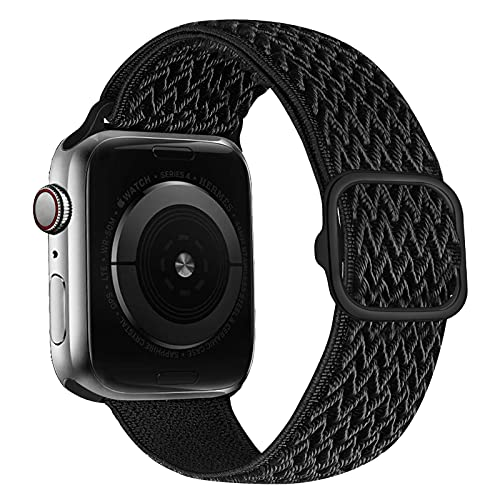 iBazal Nylon Strap Braided Solo Loop Band Compatible with Apple Watch Strap 42 mm 44 mm Nylon Replacement for iWatch SE Series 6 5 4 3 2 1 Elastic Woven Fabric Sport Watch Strap – Black 42/44