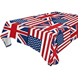WOZO Rectangular American Flag Union Jack British Tablecloth Table Cloth Cover for Home Decor Dinner Kitchen Party Picnic Wedding Halloween Christmas 60x90 inch