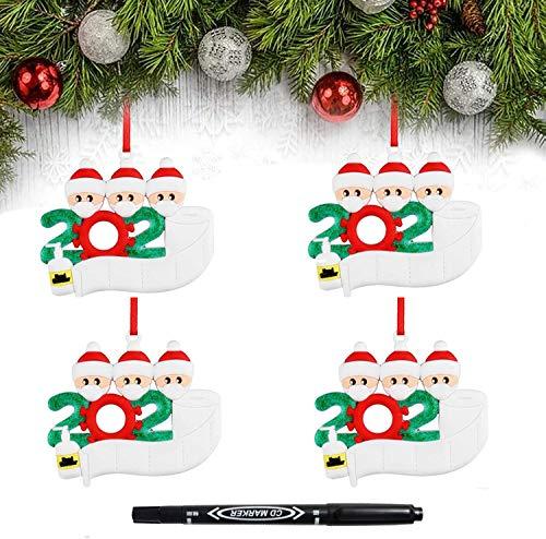 ZONSUSE Adorno de Navidad 2020, Adorno de Familia Sobrevivido, Bendición de Nombre DIY Adornos Navideños Colgante, casa Adorno de árbol de Navidad Personalizado de la Familia (Familia de 3 * 4)