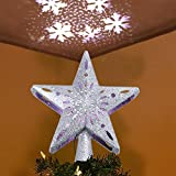 ZSport Christmas Tree Topper Light Star Shape LED Rotating Snowflake Projection Light,3D Hollow Silver Star Snow Tree Topper for Christmas Tree Indoor Decorations