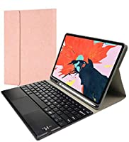 ipad pro 11キーボードカバー 2020 バックライト機能 タッチパッド付き 脱着式Bluetoothキーボードと保護ケース2020年型 iPadPro11 キーボード付き カバー (ローズ金)