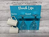 Beach Life Sunrise Sunset Wine and Coffee Sign Glass Mug Holder How to Tell Time Am Pm Beach Housewarming Gift Easter